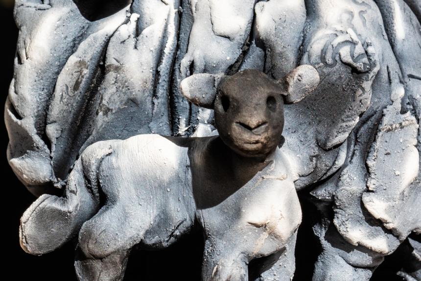 Swaledale Sheep Raku Sculpture, Alistair Brookes, The Old School Muker